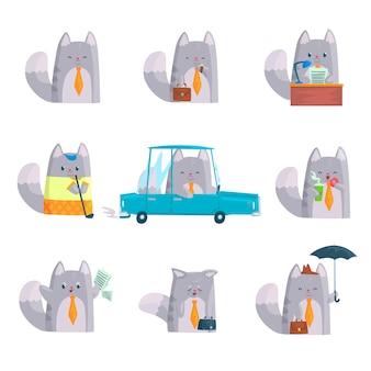 Netter geschäftsmannkatzencharakter bei der arbeit und ruhe, lustige katze in verschiedenen situationen stellte karikatur bunte illustrationen ein