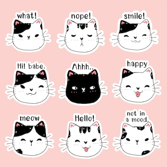 Netter gesicht kätzchen katze druckbare aufkleber