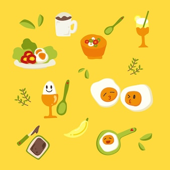 Netter gesunder frühstücksvektorsatz.
