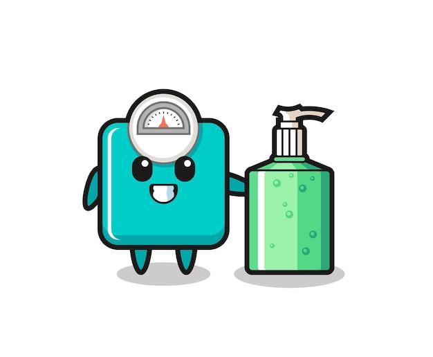 Netter gewichtsskalen-cartoon mit händedesinfektionsmittel, süßes design für t-shirt, aufkleber, logo-element