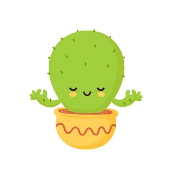 Netter glücklich lächelnder kaktus meditieren. flache karikaturillustrationsikonenentwurf. auf weißem hintergrund isoliert. kaktus yoga konzept
