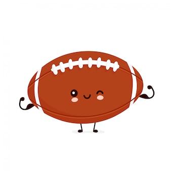 Netter glücklicher amerikanischer fußball-rugbyball-showmuskel. zeichentrickfigur.