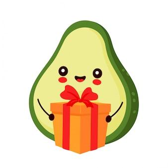 Netter glücklicher avocado-charakter mit geschenkbox. hand gezeichnete artillustration der zeichentrickfigur
