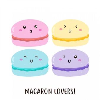Netter glücklicher bunter macarons vektorentwurf