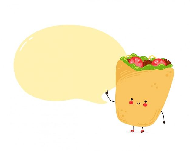 Netter glücklicher burrito mit sprechblase. auf weißem hintergrund isoliert. hand gezeichnete artillustration der zeichentrickfigur