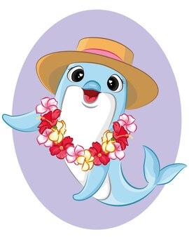 Netter glücklicher delphin mit lei hawaii. sommerkonzept