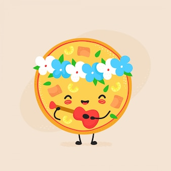 Netter glücklicher hawaiischer pizzacharakter. flache cartoon-illustration-symbol. isoliert auf weiss pizza-charakter