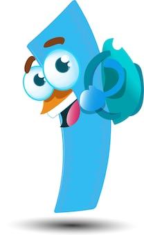 Netter glücklicher herrscher-karikatur-maskottchen-charakter mit rucksack