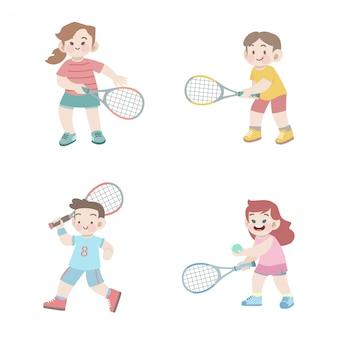 Netter glücklicher kindersporttennis-illustrationssatz