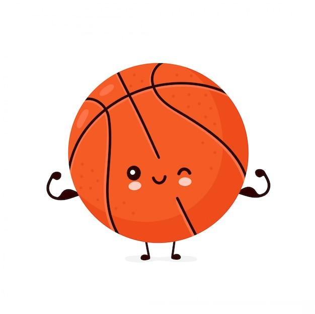 Netter glücklicher lächelnder basketballball zeigen muskel. zeichentrickfigur.