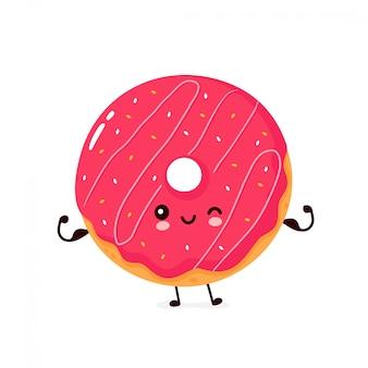 Netter glücklicher lächelnder donut zeigen muskel. zeichentrickfigur.