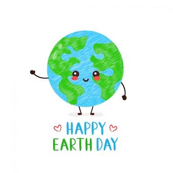 Netter glücklicher lächelnder kawaii erdplanet. happy earth day-karte. handzeichnung stil illustration karte desgin. isoliert auf weiss frühling, tag der erde, wald, grün werden, ökologie