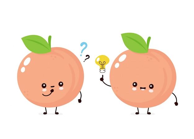 Netter glücklicher lächelnder pfirsich mit fragezeichen und ideenglühbirne. flache zeichentrickfigur abbildung. auf weißem hintergrund isoliert. pfirsichfruchtkonzept