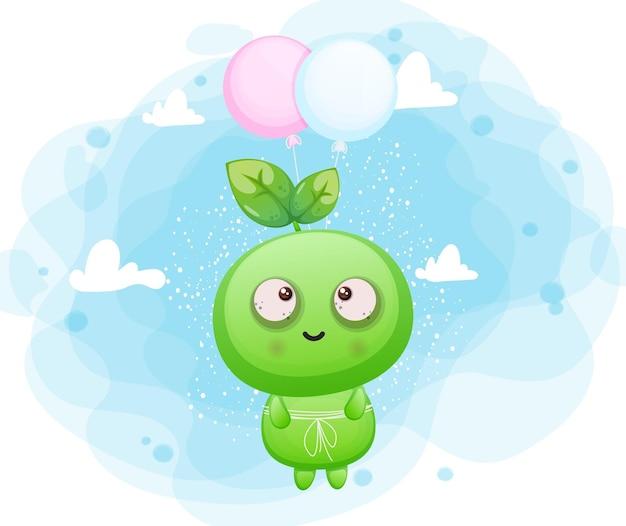 Netter glücklicher lächelnder samen, der mit ballon alien-maskottchencharakter fliegt premium-vektor