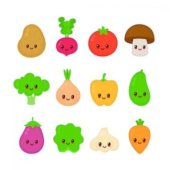 Netter glücklicher lächelnder sammlungssatz des rohen gemüses zeichentrickfilm-figur-illustration der flachen art des vektors lokalisiert auf weißem hintergrund karotte, tomate, zwiebel, aubergine, knoblauch, brokkoli, kohl, pfeffer, rettich