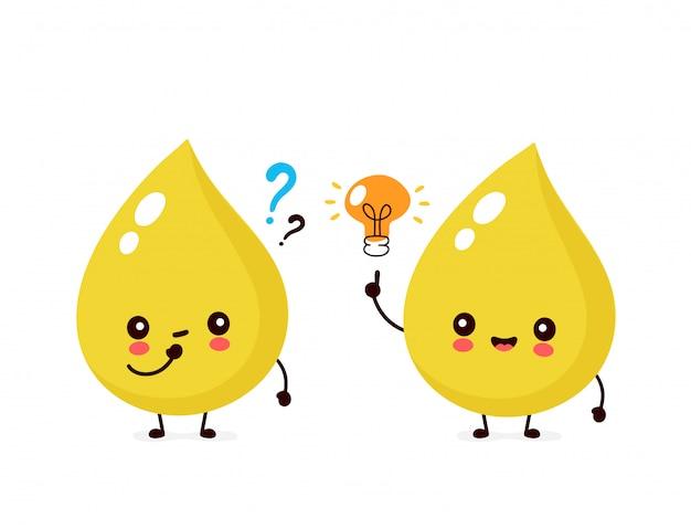 Netter glücklicher lächelnder urintropfen mit fragezeichen und glühbirnencharakter.