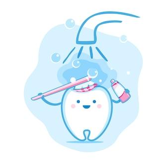 Netter glücklicher lächelnder zahn mit zahnbürste und zahnpasta wäscht.