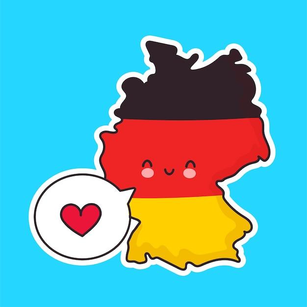 Netter glücklicher lustiger deutschland-karten- und flaggencharakter mit herz in der sprechblase. linie karikatur kawaii charakter illustration symbol. deutschland-konzept