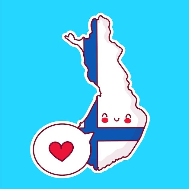 Netter glücklicher lustiger finnland-karten- und flaggencharakter mit herz in der sprechblase