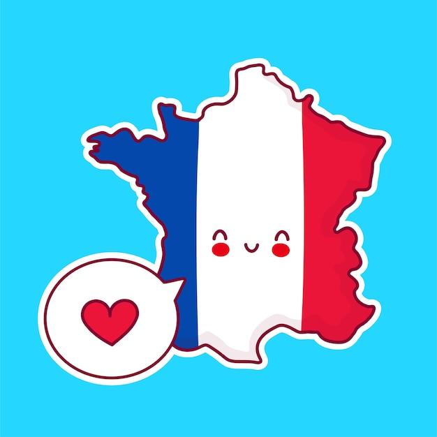 Netter glücklicher lustiger frankreich-karten- und flaggencharakter mit herz in der sprechblase