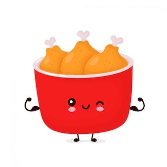 Netter glücklicher lustiger gebratener hühnereimer zeigen muskel. cartoon charakter illustration icon design.isolated