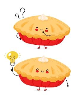 Netter glücklicher lustiger hausgemachter kuchen mit fragezeichen und ideenglühbirne. auf weißem hintergrund isoliert. hand gezeichnete artillustration der zeichentrickfigur