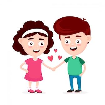 Netter glücklicher lustiger lächelnder junge und mädchen in der liebe. flache zeichentrickfigur symbol. isoliert auf weiss kinder halten hand, freunde paar, romantisch
