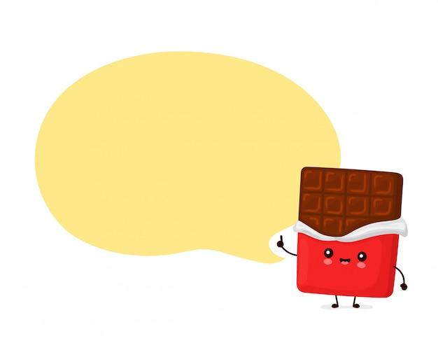 Netter glücklicher lustiger schokoriegel mit sprechblase. cartoon charakter illustration icon design.isolated