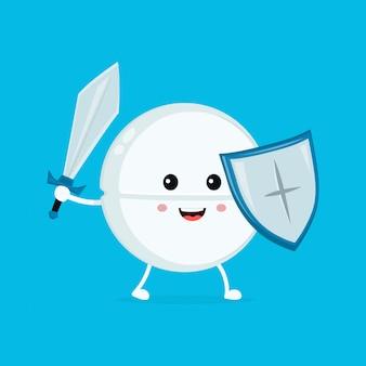 Netter glücklicher lustiger starker tablettenpillenwächter mit klinge und schild. flache cartoon charakter abbildung symbol. pille, tablette, gesundheit, medizinisches antibiotikum