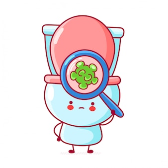 Netter glücklicher lustiger toilettenblick auf bakterien in der lupe.