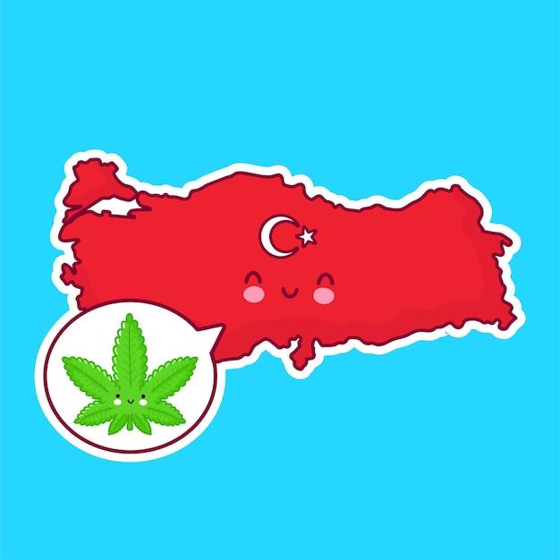 Netter glücklicher lustiger türkei-karten- und flaggencharakter mit unkraut-marihuana in der sprechblase.