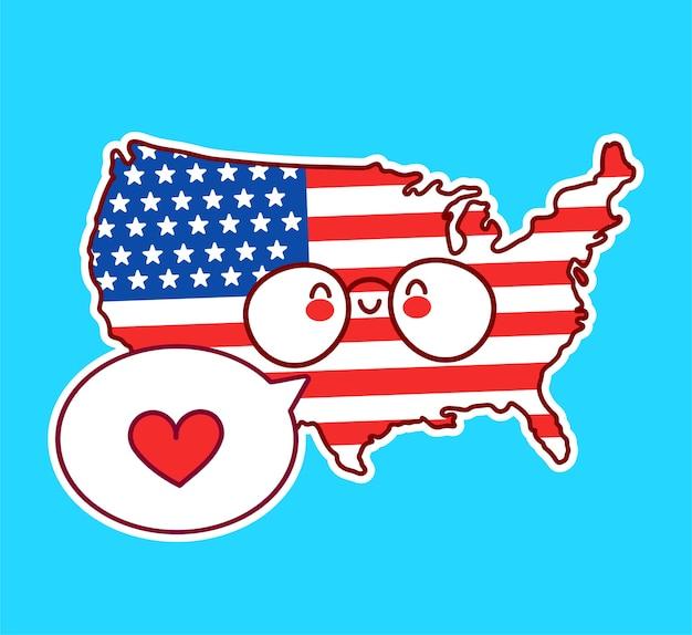 Netter glücklicher lustiger usa-karten- und flaggencharakter mit herz in der sprechblase. vektor flache linie karikatur kawaii charakter illustration symbol. usa, konzept der vereinigten staaten von amerika