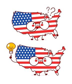 Netter glücklicher lustiger usa-karten- und flaggencharakter