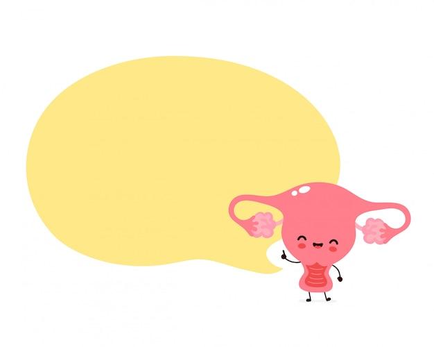 Netter glücklicher lustiger uterus mit sprechblase. cartoon charakter illustration icon design.isolated