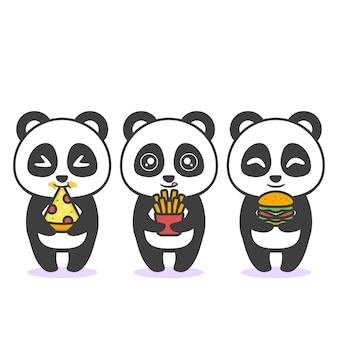 Netter glücklicher panda mit unterschiedlichem ausdruck und essen