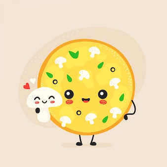 Netter glücklicher pilzpizzacharakter.