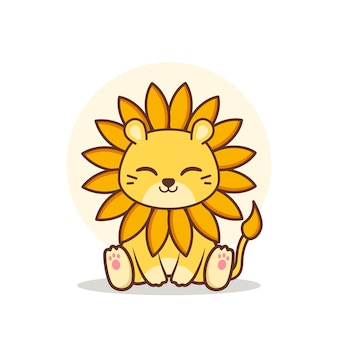 Netter glücklicher sonnenblumenlöwe sitzend Premium Vektoren