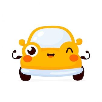 Netter glücklicher starker gelber autoautoshowmuskel. zeichentrickfigur.