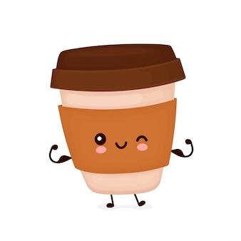 Netter glücklicher starker kaffeepapierbecher zeigen muskel. zeichentrickfigur.