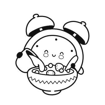 Netter glücklicher wecker gießt milch in müsliseite für malbuch. vektor flache linie cartoon kawaii charaktersymbol. handgezeichnete stilillustration. isoliert auf weißem hintergrund. weckerkonzept
