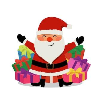 Netter glücklicher weihnachtsmann mit haufen weihnachtsgeschenk. flacher stil cartoon charakter vektor isoliert.