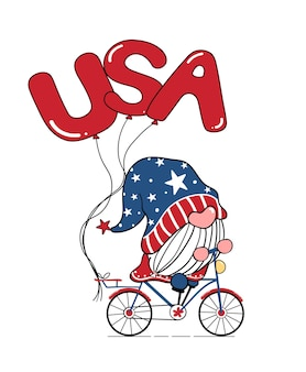 Netter gnome 4. juli unabhängigkeitstag gnome auf fahrrad mit usa-ballons doodle cartoon flache illustration
