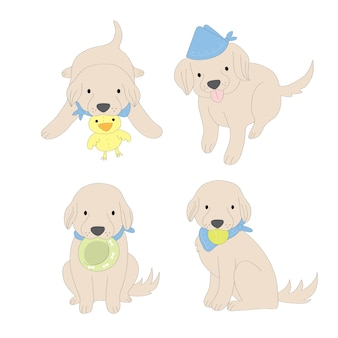 Netter goldener apportierhund der karikaturaktion