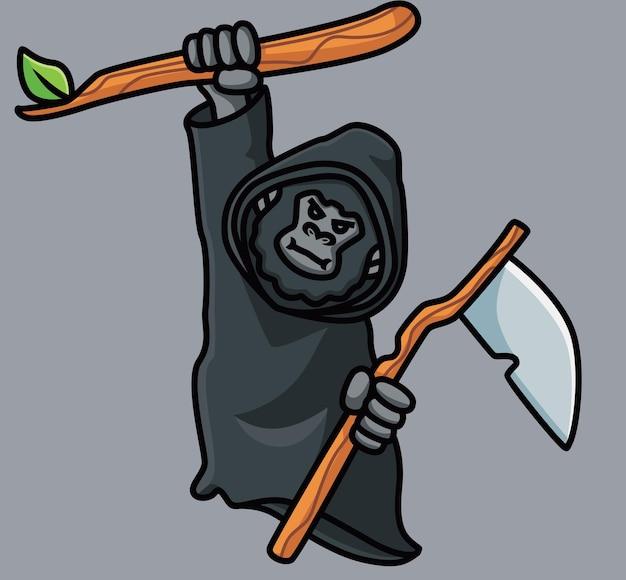 Netter gorilla affe sensenmann. isolierte cartoon-tier-halloween-illustration. flacher stil geeignet für sticker icon design premium logo vektor. maskottchen-charakter