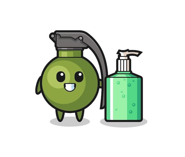 Netter granaten-cartoon mit händedesinfektionsmittel, süßes design für t-shirt, aufkleber, logo-element