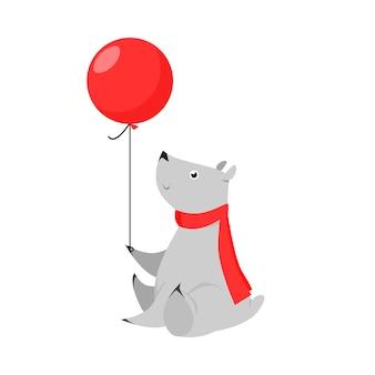 Netter grauer bär, der luftballon hält