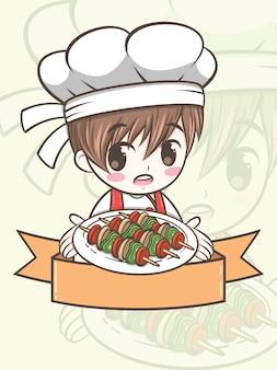 Netter grillkochjunge, der eine gegrillte rindfleisch - karikaturfigur und logoillustration hält