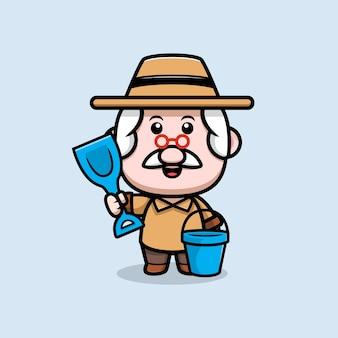 Netter großvater, der bereit ist, sandkarikaturillustration zu spielen