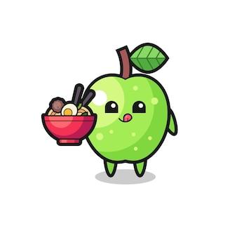 Netter grüner apfelcharakter, der nudeln isst, süßes stildesign für t-shirt, aufkleber, logoelement