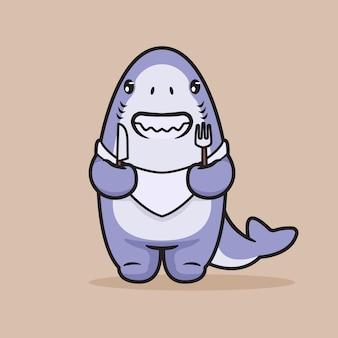 Netter hai, der auf abendessenillustration wartet